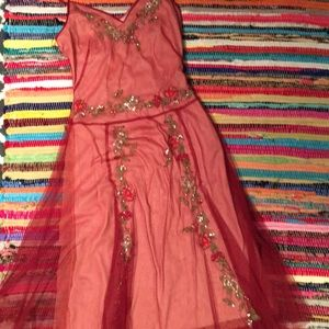Sale!! BCBG Holiday Dress Beaded red mesh size 2
